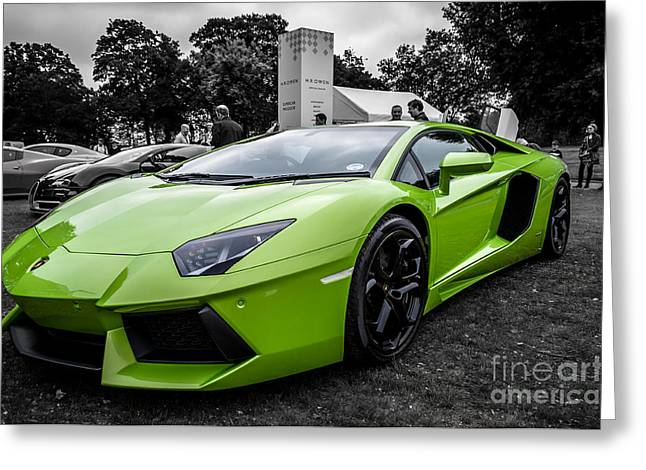 Green Aventador Greeting Card