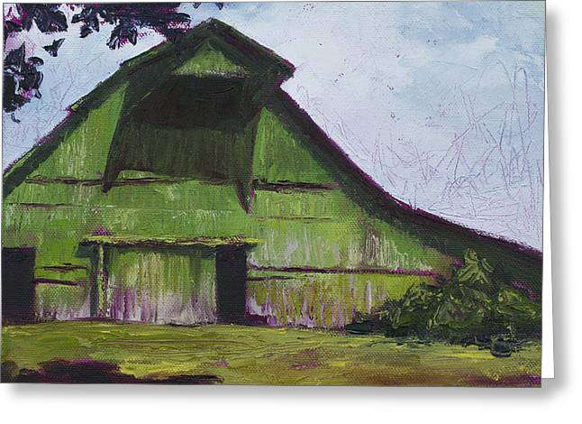Green Barn Greeting Card by Kristin Whitney