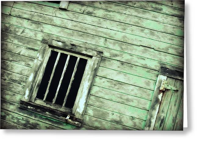 Green Barn Up Close Greeting Card by Julie Hamilton