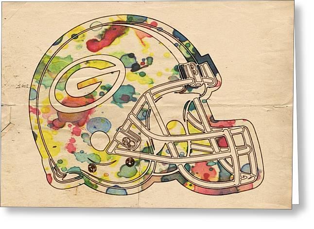 Green Bay Packers Helmet Poster Greeting Card