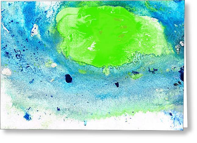 Green Blue Art - Making Waves - By Sharon Cummings Greeting Card