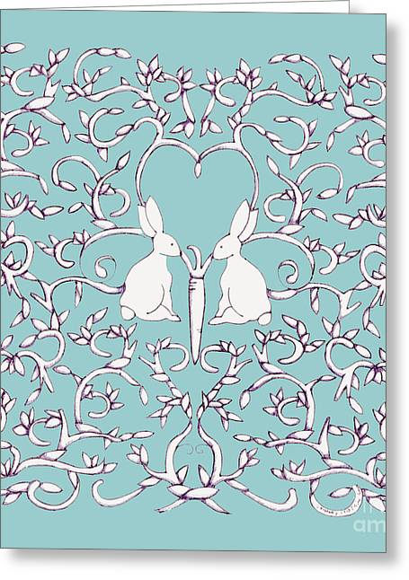 Greeting Card featuring the drawing Green Blue Rabbits Leaves by Donna Huntriss