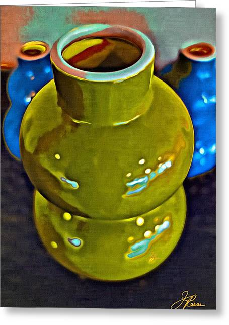 Greeting Card featuring the painting Green  Blue Vases by Joan Reese