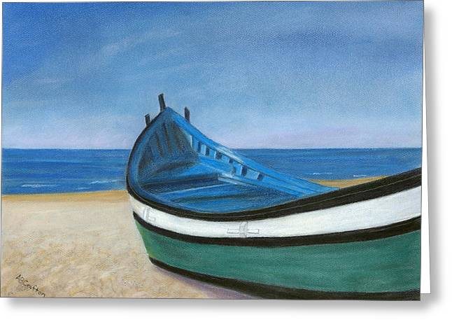 Green Boat Blue Skies Greeting Card
