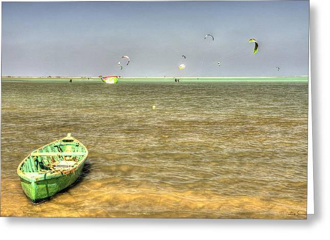 Green Boat Floating On The Waters Of Hamata Kite Surfing Spot Greeting Card by Julis Simo