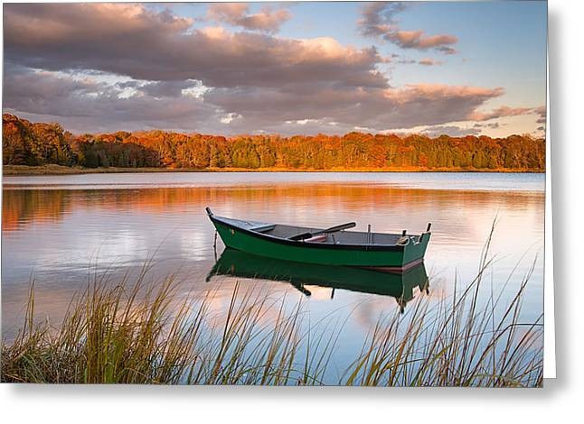 Green Boat On Salt Pond Greeting Card
