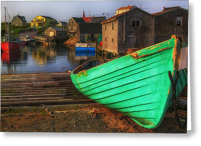 Green Boat Peggys Cove Greeting Card