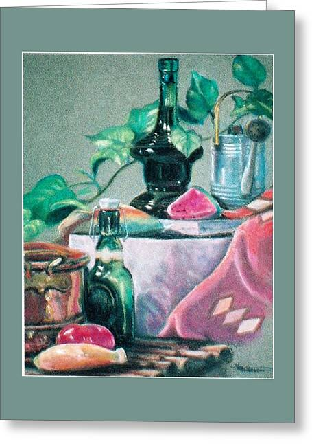 Green Bottles And Copper Greeting Card by Harriett Masterson