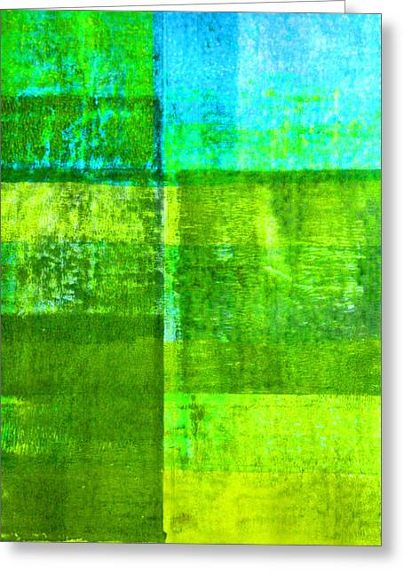 Green Boxes Abstract Greeting Card by Nancy Merkle
