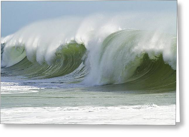 Green Breaking Wave Tube Greeting Card by Heiko Koehrer-Wagner