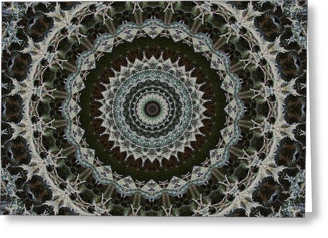 Green Brown Mandala Greeting Card by Kathi Shotwell