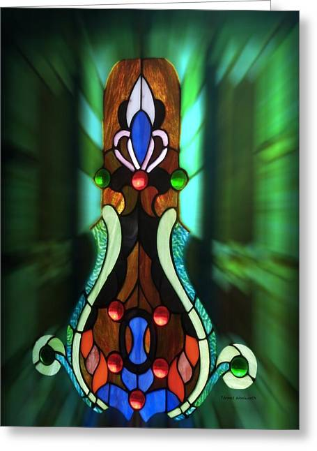 Green Brown Stained Glass Window Greeting Card by Thomas Woolworth