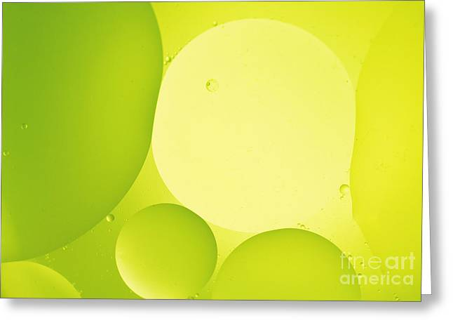Green Bubbles Greeting Card by Angela Bruno