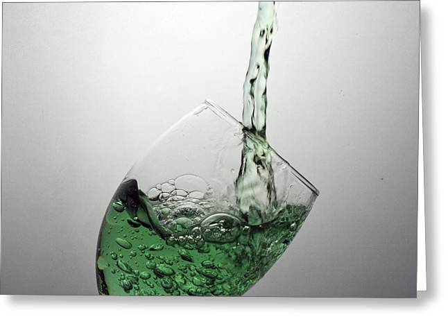 Green Bubbly Greeting Card by John Hoey
