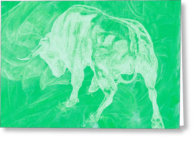 Green Bull Negative Greeting Card