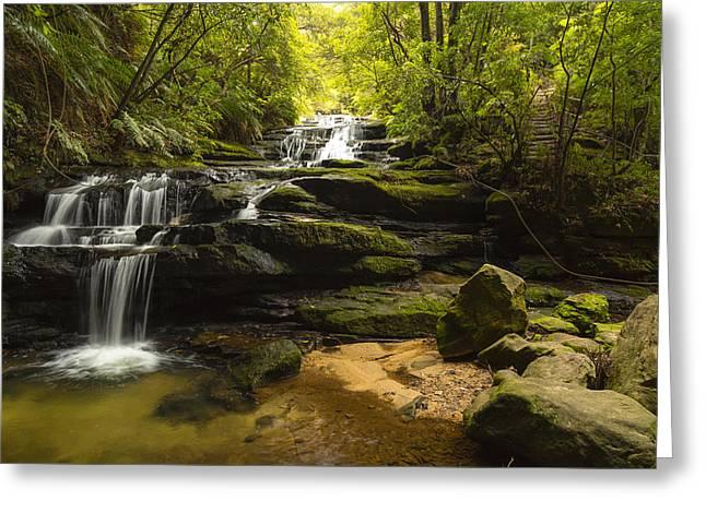 Green Cascades Greeting Card