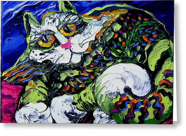 Green Cat Greeting Card by Isabelle Gervais