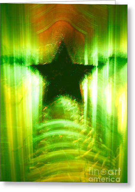 Green Christmas Star Greeting Card by Gaspar Avila