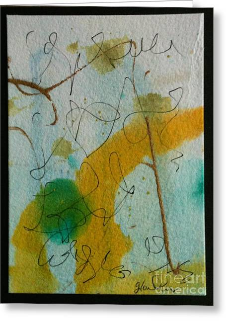 Green Circle Abstract Greeting Card by Gloria Cooper