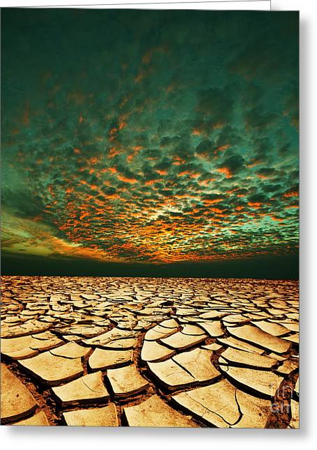 Green Dead Valley Greeting Card by Boon Mee