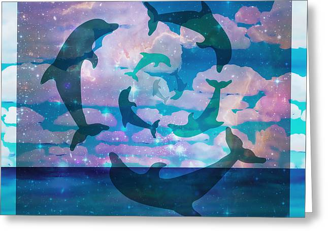 Green Dolphin Dance Greeting Card