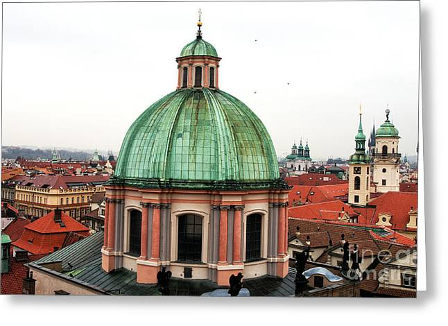 Green Dome In Prague Greeting Card by John Rizzuto