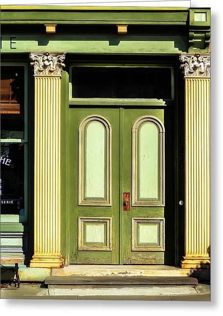 Green Door Greeting Card by Jon Woodhams