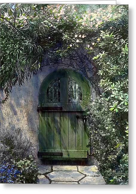 Green Door Greeting Card by Terry Reynoldson