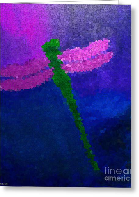 Greeting Card featuring the painting Green Dragonfly by Anita Lewis