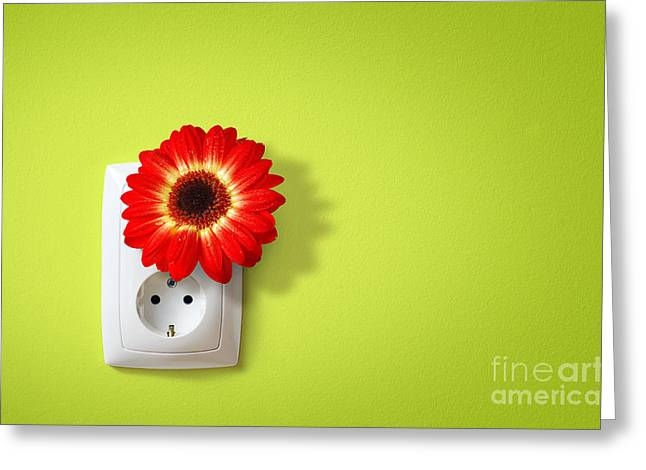Green Electricity Greeting Card by Carlos Caetano
