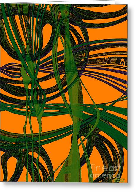 Greeting Card featuring the digital art Green Excitement by Hanza Turgul