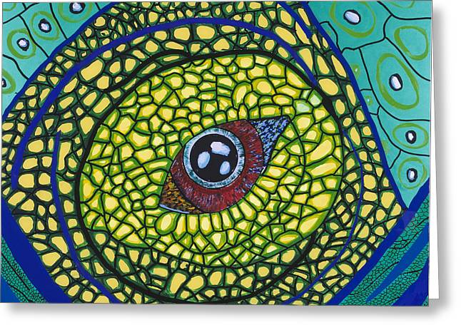 Green Eye Greeting Card by Patrick OLeary