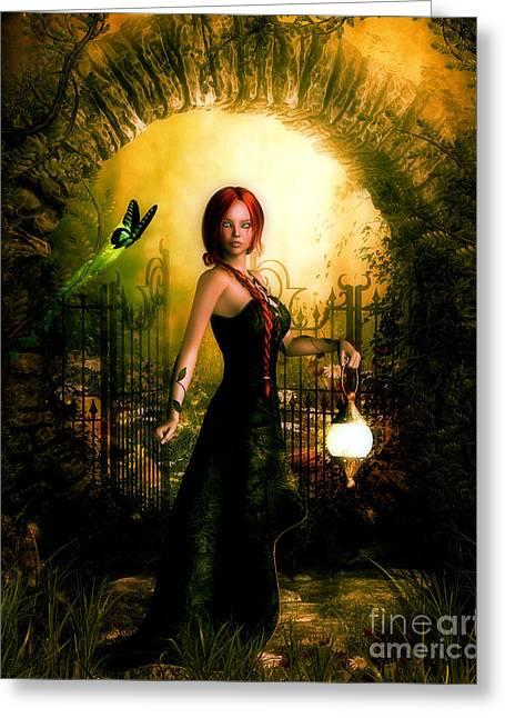 Green Eyed Lady Greeting Card by Putterhug  Studio
