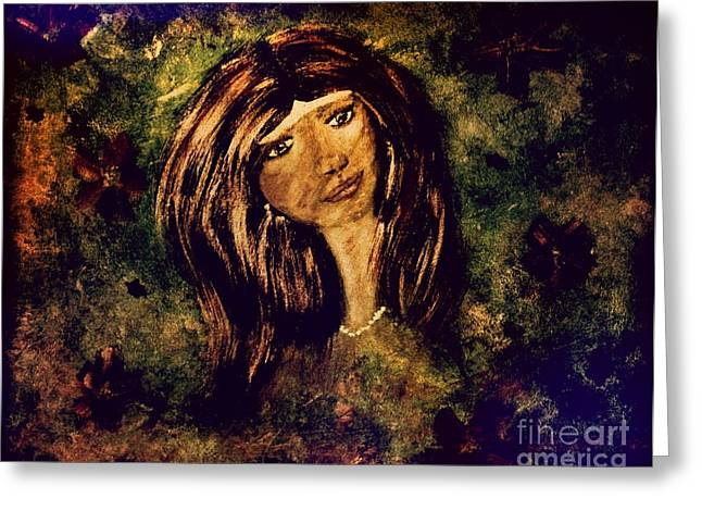 Greeting Card featuring the painting Green Eyes by Denise Tomasura