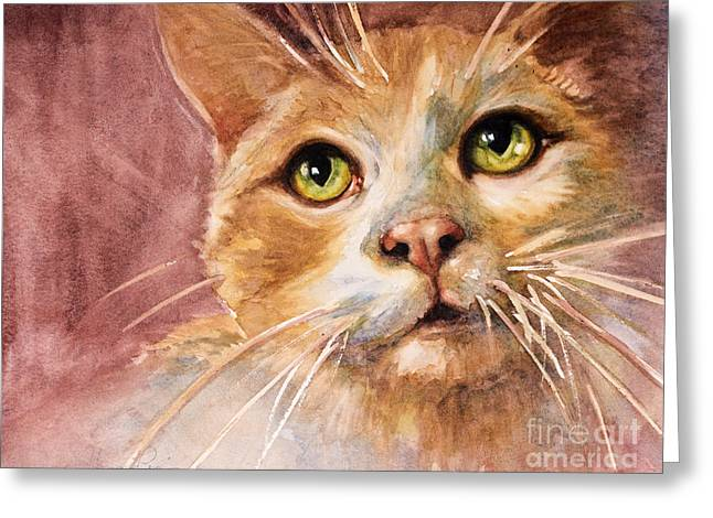 Green Eyes Greeting Card by Judith Levins