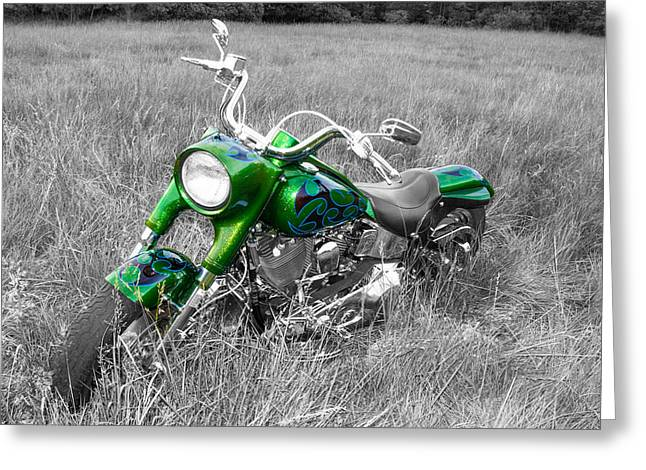 Green Fat Boy Greeting Card by Guy Whiteley
