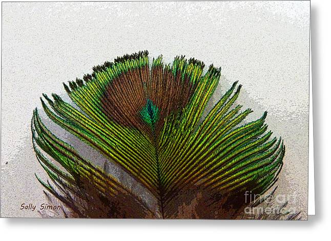Green Feather Tip Greeting Card