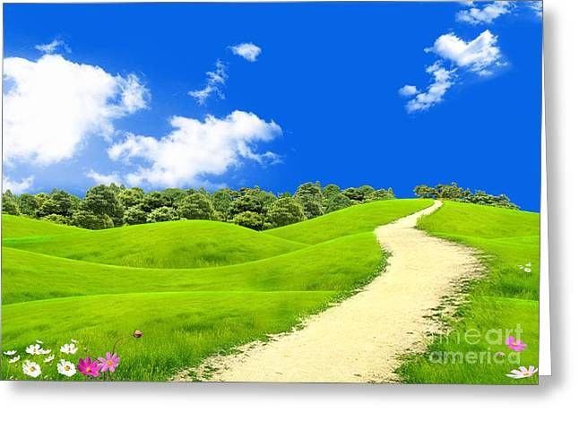 Green Field Greeting Card by Boon Mee
