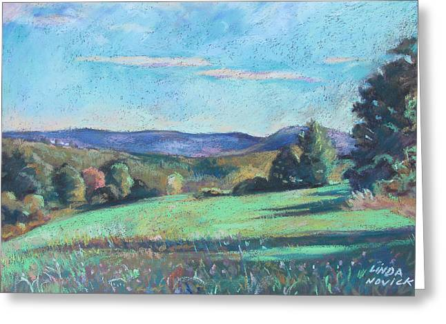 Green Field With Shadows Greeting Card