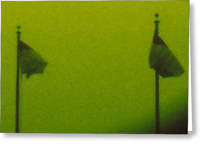 Green Flags Greeting Card by Lawrence Horn