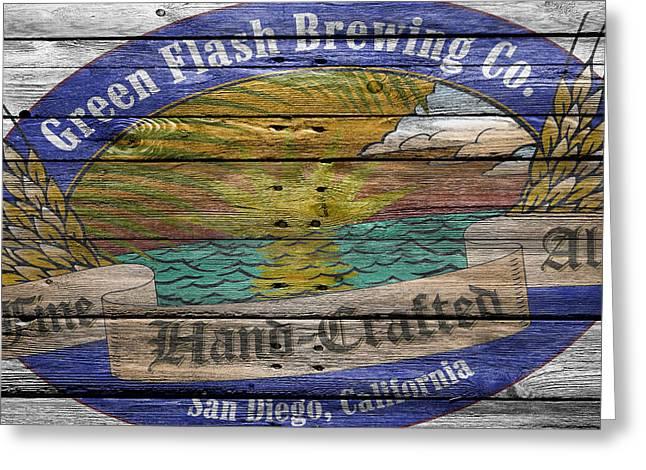 Green Flash Brewing Greeting Card by Joe Hamilton