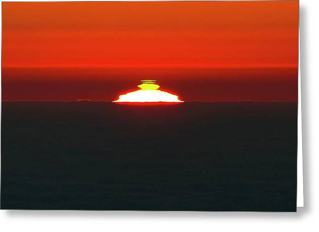 Green Flash Phenomenon At Sunset Greeting Card by G. Lombardi/european Southern Observatory