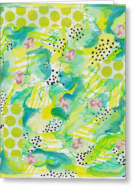 Green Floral Abstract Greeting Card