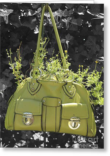 Green Flower Bag Greeting Card