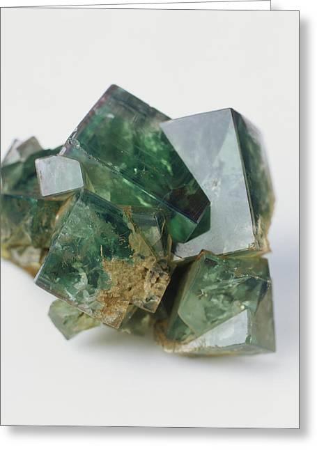 Green Fluorite Cubic Crystal Twins Greeting Card by Dorling Kindersley/uig