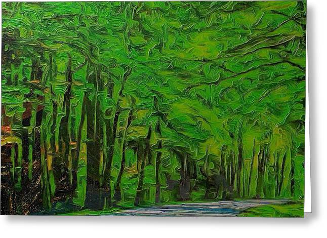 Green Forest Drive On Metal Greeting Card by Dan Sproul