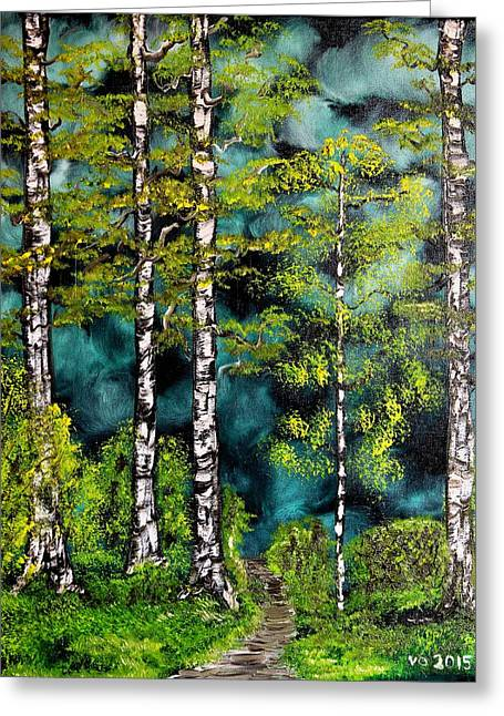 Green Forest Greeting Card by Valerie Ornstein