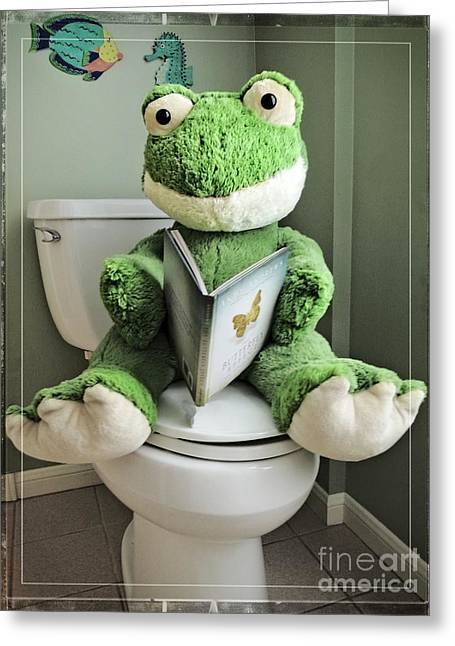 Green Frog Potty Training - Photo Art Greeting Card
