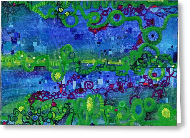 Green Functions Greeting Card by Regina Valluzzi