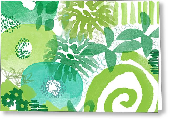 Green Garden- Abstract Watercolor Painting Greeting Card by Linda Woods